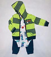 Костюм Carters 3в1 Зеленый полосатый с пингвином (9-12 мес)