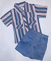 Костюм 2 в 1 Рубашка в полоску и шортики с корабликами (9-12 мес)