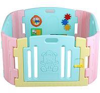 Ограждение-манеж для детей EDU PLAY с игровой панелью арт BR-7317PCT бирюза/лимон/розовый