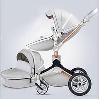 Детская коляска 2в1 Hot Mom 360º F23, экокожа, серый