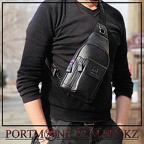 Мужской рюкзак-слинг BULLCAPTAIN в Алматы, 100 % кожа, фото 2