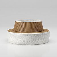 Скамейка-клумба Comfort из мраморного композитного камня с деревянным настилом