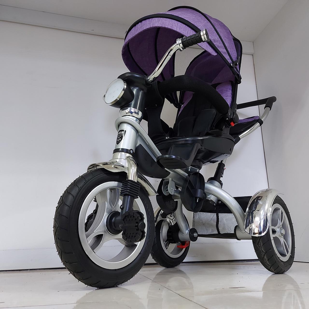 Велосипед трехколесный с родительской ручкой, фонарем и мелодиями. Рассрочка. Kaspi RED