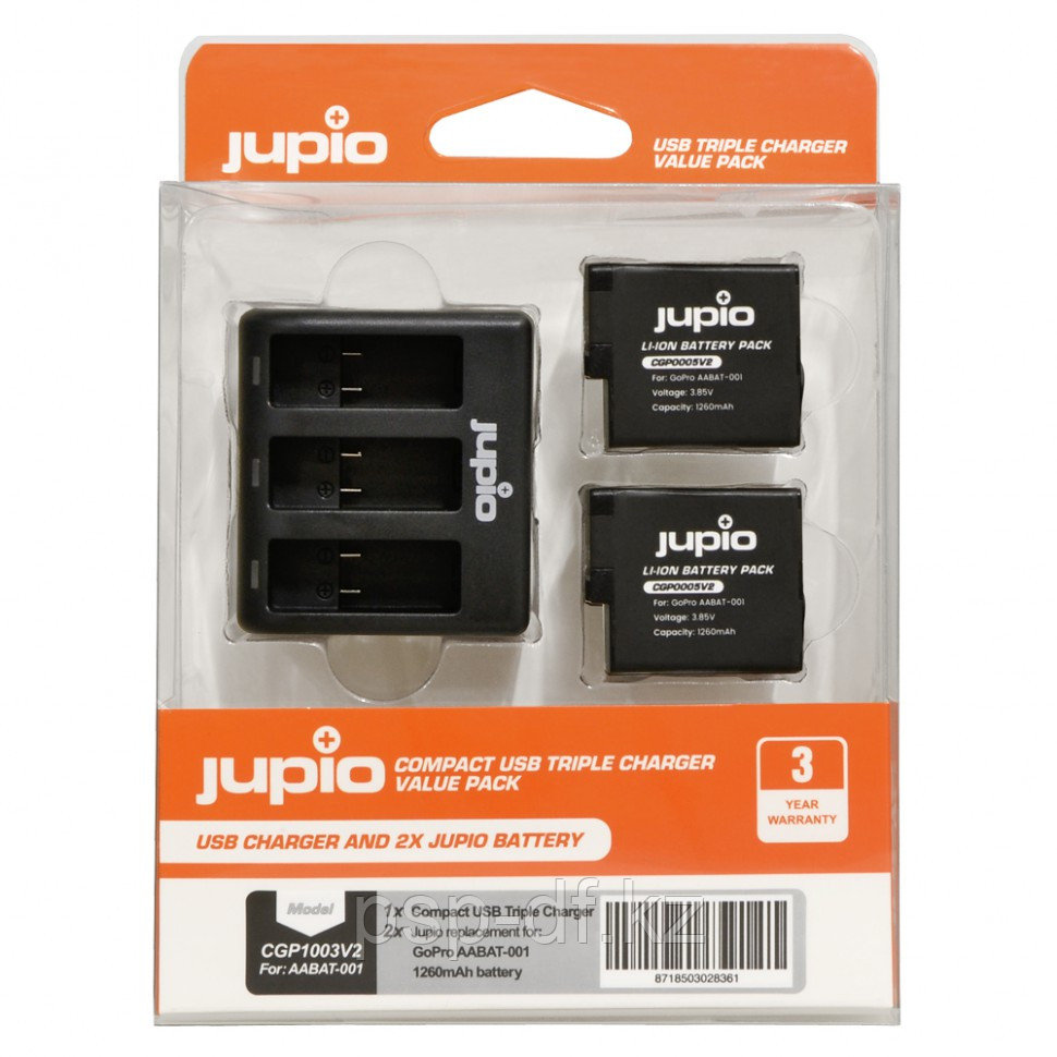 Jupio Value Pack: 2x Battery GoPro AABAT-001 HERO5/6/7 + Compact USB Triple Charger