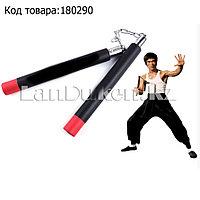 Нунчаки спортивные тренировочные черные с красными элементами