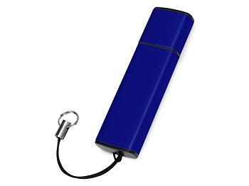 Флеш-карта USB 2.0 16 Gb металлическая с колпачком Borgir, темно-синий