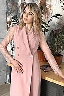 Женское осеннее кружевное розовое нарядное платье MEDIUM 5109 пудра 42р.