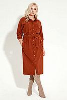 Женское осеннее из вискозы оранжевое большого размера платье Prio 12880z терракотовый 54р.