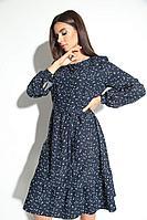 Женское осеннее синее нарядное большого размера платье Michel chic 2048 синий 44р.