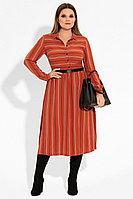 Женское осеннее оранжевое платье Prio 22380z терракотовый 44р.
