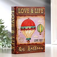 """Шкатулка-книга дерево """"Воздушный шар"""" текстиль 19х14х4 см"""