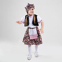 Карнавальный костюм «Бабка-ёжка», жилет, юбка, блузка, платок, р. 32, рост 122-128 см