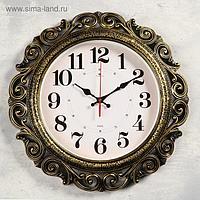 Часы настенные, серия: Ажур d=40.5 см, чёрные с золотом, плавный ход