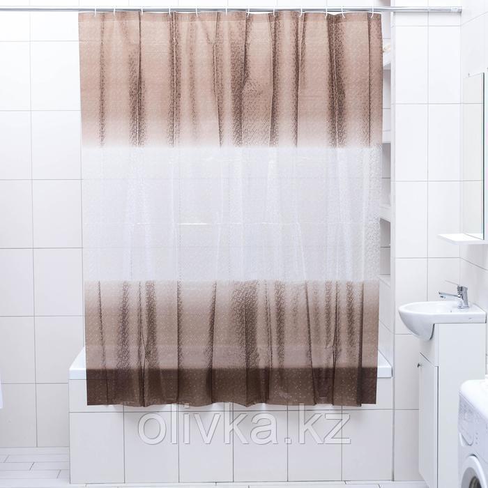 Штора для ванной комнаты Доляна «Диско 3D», 180×180 см, EVA, цвет коричневый