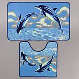 Набор ковриков для ванны и туалета «Дельфины», 2 шт× 48×78, 48×45 см, фото 2