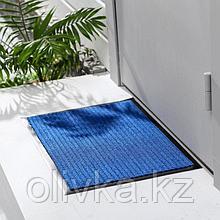Коврик придверный влаговпитывающий, ребристый, «Стандарт», 80×120 см, цвет синий
