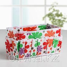 Бокс для мелочей «Цветочки», 15 карманов, 23,5×12×13 см