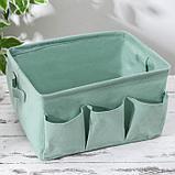 Корзинка для хранения «Тая», 3 кармана, 30×24×18 см, цвет бирюзовый, фото 2