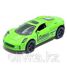 Машина металлическая «Спорт», открываются двери, инерция, цвет салатовый