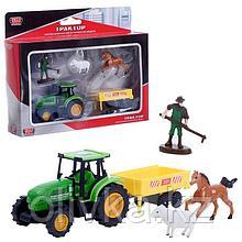 Трактор металлический, с прицепом, фигурками 7,5 см, МИКС