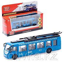 Троллейбус металлический, 15 см, открывающиеся двери, инерционный