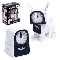 Робот-часы «Щенок», трансформируется в будильник, работает от батареек, цвет белый