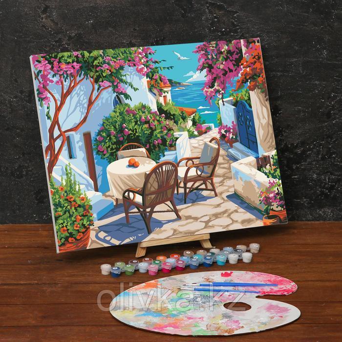 Картина по номерам на холсте с подрамником «Уютный дворик у моря» 40х50 см