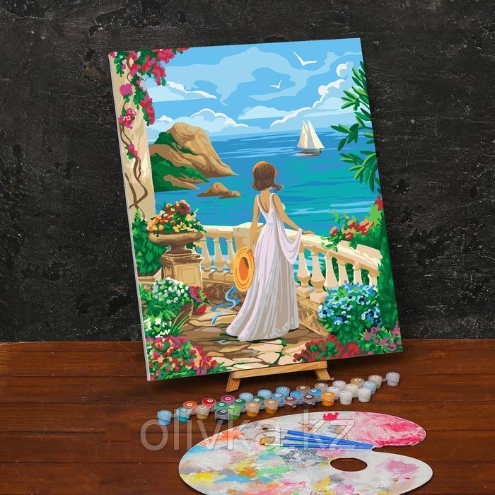 Картина по номерам на холсте с подрамником «Девушка у моря» 40х50 см