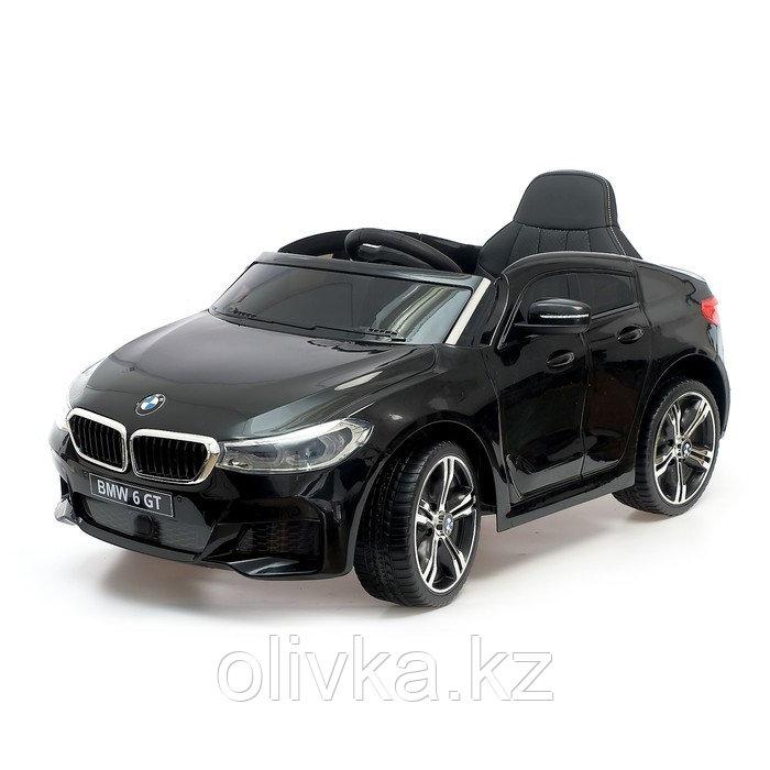 Электромобиль BMW 6 Series GT, цвет черный, EVA колеса, кожаное сидение