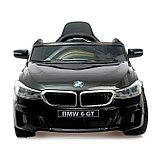 Электромобиль BMW 6 Series GT, цвет черный, EVA колеса, кожаное сидение, фото 5