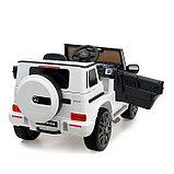 Электромобиль MERCEDES-BENZ G63 AMG, цвет белый, EVA колеса, кожаное сиденье, фото 4