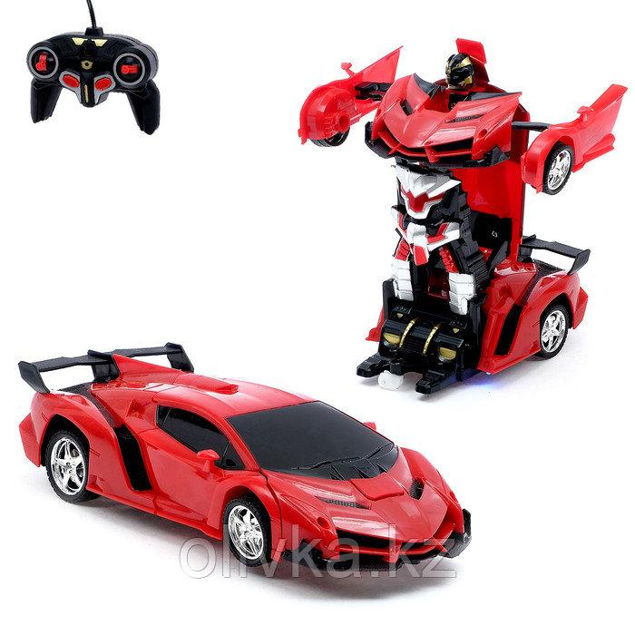 Робот радиоуправляемый «Ламбо», трансформируется с пульта, масштаб 1:18, цвет красный