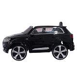 Электромобиль AUDI Q7, EVA колёса, кожаное сиденье, цвет чёрный глянец, фото 2