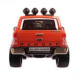 Электромобиль FORD RANGER, цвет оранжевый, EVA колёса, кожаное сиденье, фото 7