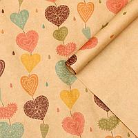 """Набор бумаги упаковочной крафт """"Сердца пряди"""", 50 х 70 см, 10 листов"""