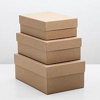 "Набор коробок 3 в 1 ""Крафт однотонный"", 19 х 12 х 7,5 - 15 х 10 х 5 см"