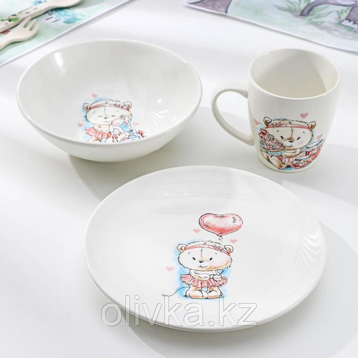 Набор посуды Кубаньфарфор «Кроха», 3 предмета: тарелка d=17,5 см, миска 250 мл, d=17,5 см, кружка 260 мл