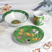 Набор «Домашние животные», 3 предмета: кружка d=240 мл, тарелка d=19 см, миска 18 см