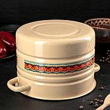 Мантоварка-позница Сибирские товары, 7,5 л, декор, 2 вставки, пластмассовая ручка, цвет палевый МИКС, фото 3