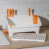 Сушилка для посуды со сливом поворотная YAMADA, 36,8×26,5×26,7 см, цвет белый, фото 4