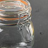 Банка для сыпучих продуктов с бугельным замком «Оптима», 1,1 л, 10,5×10,5×12,5 см, цвет МИКС, фото 2