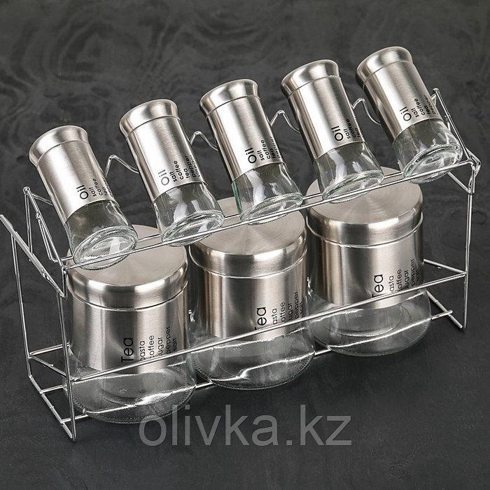 Набор банок для сыпучих продуктов «Стиль», 8 шт, 40×13×23 см, на металлической подставке