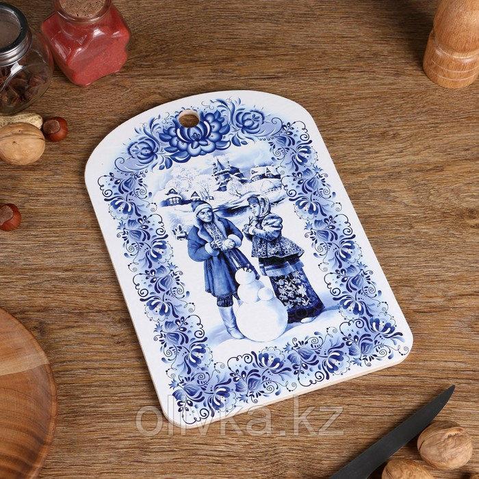 """Доска разделочная сувенирная """"Гжель"""", 19,5×27,5 см"""