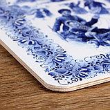 """Доска разделочная сувенирная """"Гжель. Катание на санках"""", 19,5×27,5 см, фото 3"""