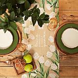 """Дорожка """"Этель"""" Белые тюльпаны 30*70 см, 100% хлопок, саржа 190 г/м2, фото 3"""