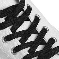 Шнурки для обуви, пара, плоские, 9 мм, 120 см, цвет чёрный