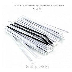 Трубочки для коктейля 5*240 черные с гофрой в индивидуальной упаковке (500/10000)