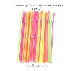 """Трубочки с гофрой """"Неоновые"""" для коктейлей, соков 5х210 (100 шт/уп)"""