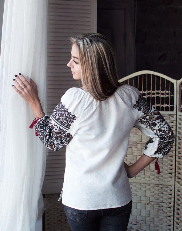 Вышиванка женская Дружина Хлибороба лён белый - фото 3