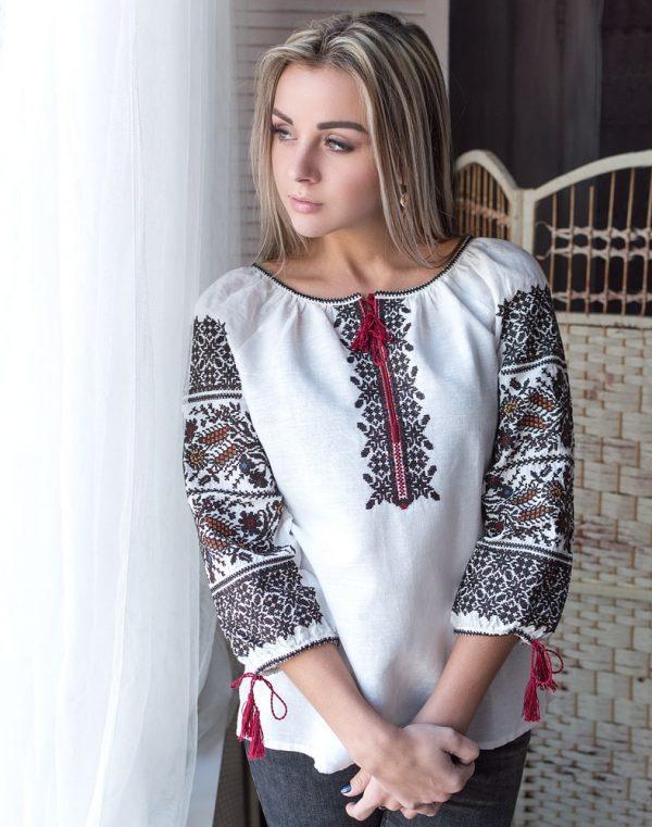 Вышиванка женская Дружина Хлибороба лён белый - фото 1